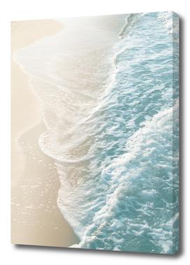 Soft Teal Gold Ocean Dream Waves #1 #water #decor #art