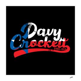 Davy Crockett Texas Flag Typography Illustration 1786 - 1836