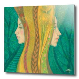 Summer, Fantasy Art, Women Faces, Green Yellow
