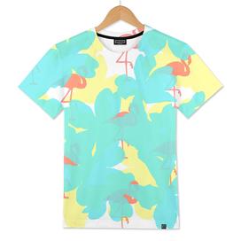 primroses turquoise flamingos coral