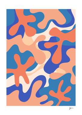 Groovy Time Joyful Abstract in Blush and Blue Tones
