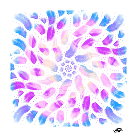 Feathery New Age Mandala - Iridescent Rainbow Vibes