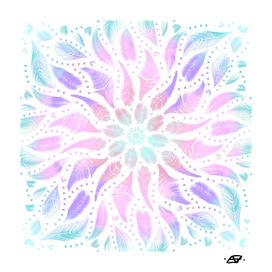 Iridescent Magical Feather Mandala - Boho