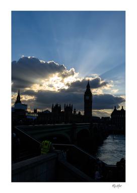 Sun rays above Big Ben London