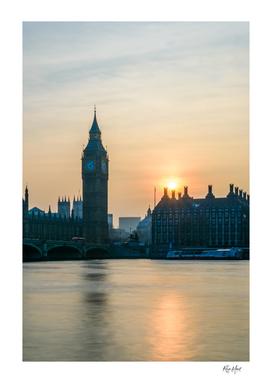 Sunset behind Big Ben London