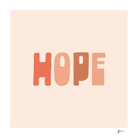 HOPE Optimistic Motivational Typography in Blush
