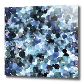 Blue watercolor dots
