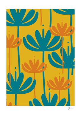 Bali Flowers Minimalist Floral Pattern Teal, Orange, Mustard