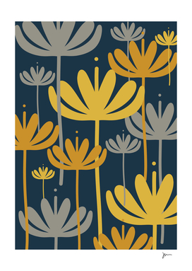 Bali Flowers Floral Pattern in Mustard, Gray, and Navy