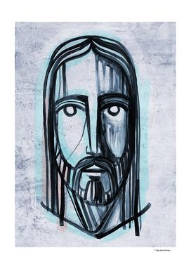 Jesus Christ face ink illustration