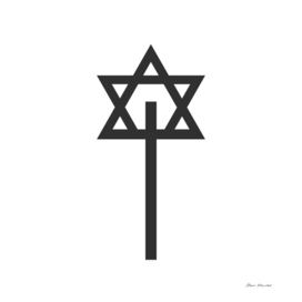 Combination of Star of David with Cross religious sym