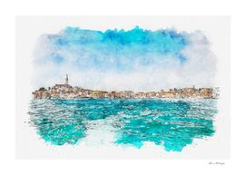 Aquarelle sketch art. Boat trip Rovinj. View to the city.
