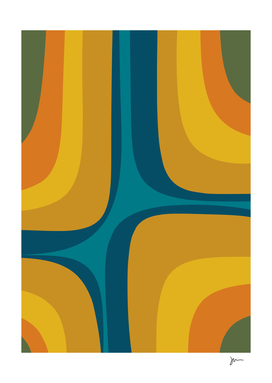 Retro Groove Mid Century Modern Abstract in Teal and Mustard