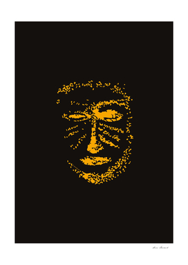 Warrior mask orange black