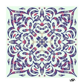 Mint Green and Navy Painterly Mandala Tile