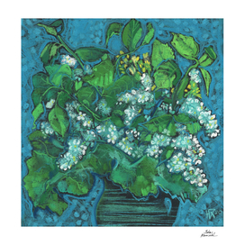 Bird Cherry Flowers Blossom Floral Pastel Painting