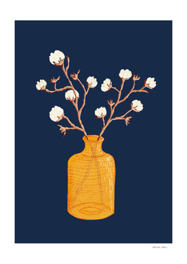Still life - Cotton branches in a ochre vase
