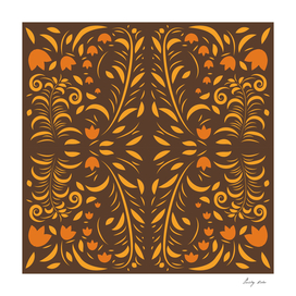 Floral pattern with flowers and leaves hohloma style