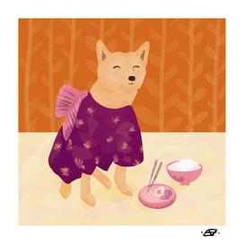 Akita Shiba Inu Dog Wearing a Kimono Eating Ramen