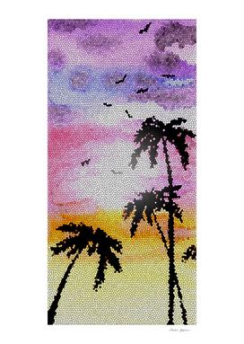 Palm Trees Mosaic Sunset