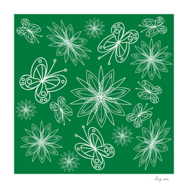 floral pattern with leaves and flowers linocut style