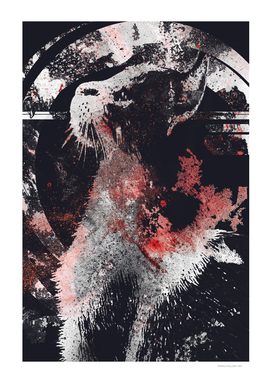 Chaser II | graffiti tabby cat portrait