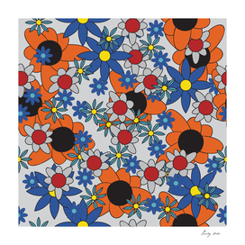 Floral pattern with leaves and flowers doodling style
