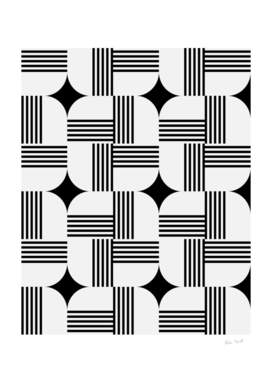Geometric Dynamic Star and Stripes Pattern black and white