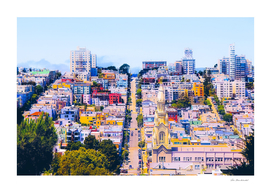 city view at San Francisco, USA,with blue sky