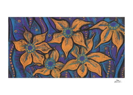 Golden Flowers, Abstract Floral Pastel Painting,