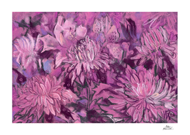 Chrysanthemum Abstraction, Pastel Painting