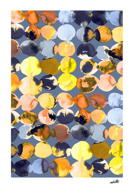 Orange and yellow ink dots