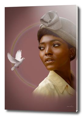 black woman digital painting
