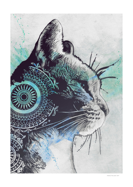 Tides Of Tomorrow: Turquoise | mandala tabby cat portrait