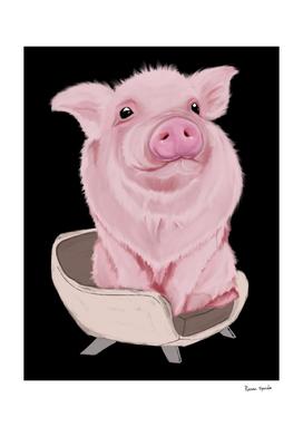piggy on white chair