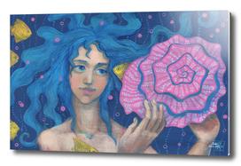 Listening to the Sea, Little Mermaid Fish Seashell Pink Blue