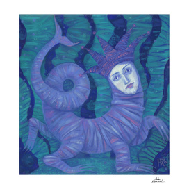 """Melusina"", surreal fantasy, magical creature, mermaid theme"