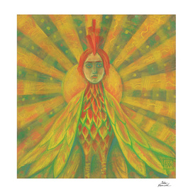Phoenix, Sun Bird, Pagan Goddess, Surreal Fantasy Art Yellow