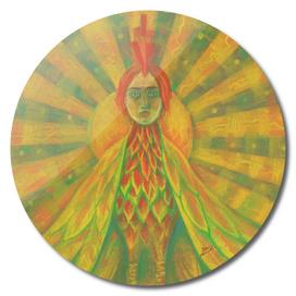 Phoenix, Sun Bird, Pagan Goddess, Surreal Fantasy Art Yellow