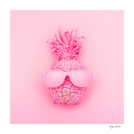 Pink pineapple in sunglasses