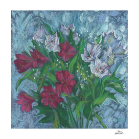 Peruvian Lilies, Alstroemeria,  Floral Art, Pastel Painting