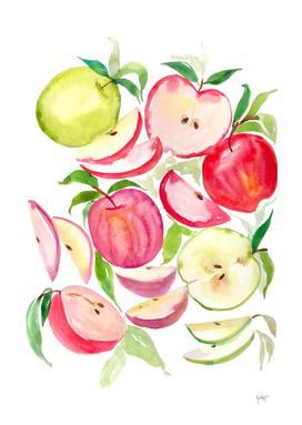 apples fruits watercolors