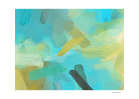splash painting texture abstract background in blue yellow