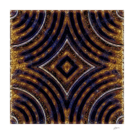 Brittle Glass - gold bronze blue white geometric wall art