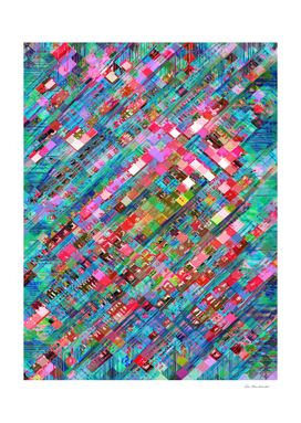 geometric square pixel pattern abstract in blue pink