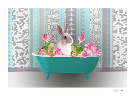 Bathtub Rabbit Bunny Lotus Flowers Frog