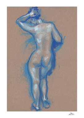Standing Woman, Female Nude Model - Back, Artistic Nudity
