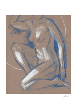 Half Kneeling Blue, Nude Sketch, Naked woman