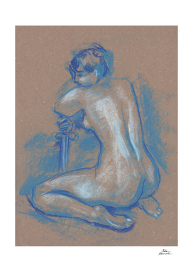 Blue Nude, Kneeling Woman with Sword, Artistic Nudity