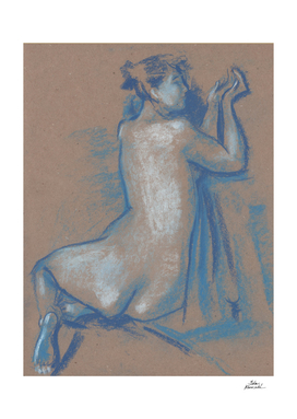 Sitting Woman, Nude Sketch, Blue Series